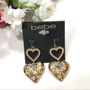 New Bebe Rhinestones Heart Drop Earrings